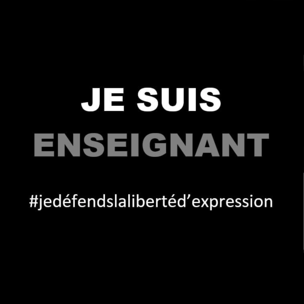 """Image carré noir et mention """"JE SUIS ENSEIGNANT"""" #jedéfendslalibertéd'expression"""