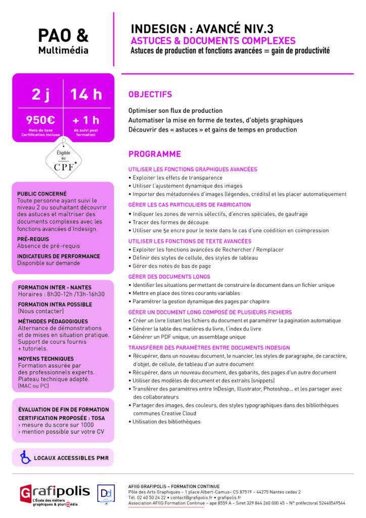 Indesign programme de formation niveau 3
